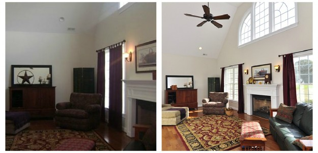 great room before and after