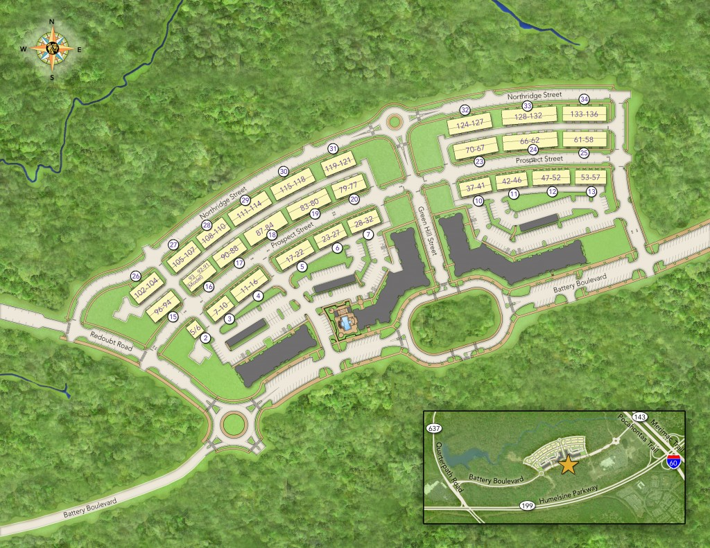 HH Hunt Town home siteplan Quarterpath at Williamsburg VA