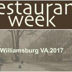 WIlliamsburg VA Restaurant Week 2017